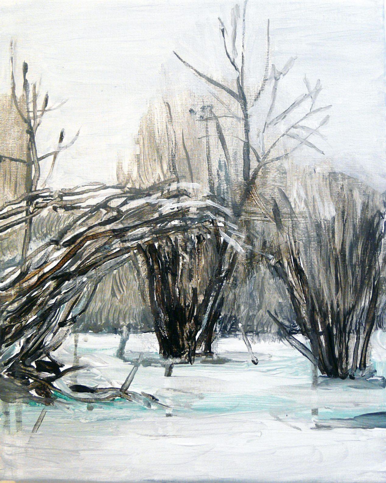 Outskirts Winter 4-5 201530cm x 24cm Acrylic canvas