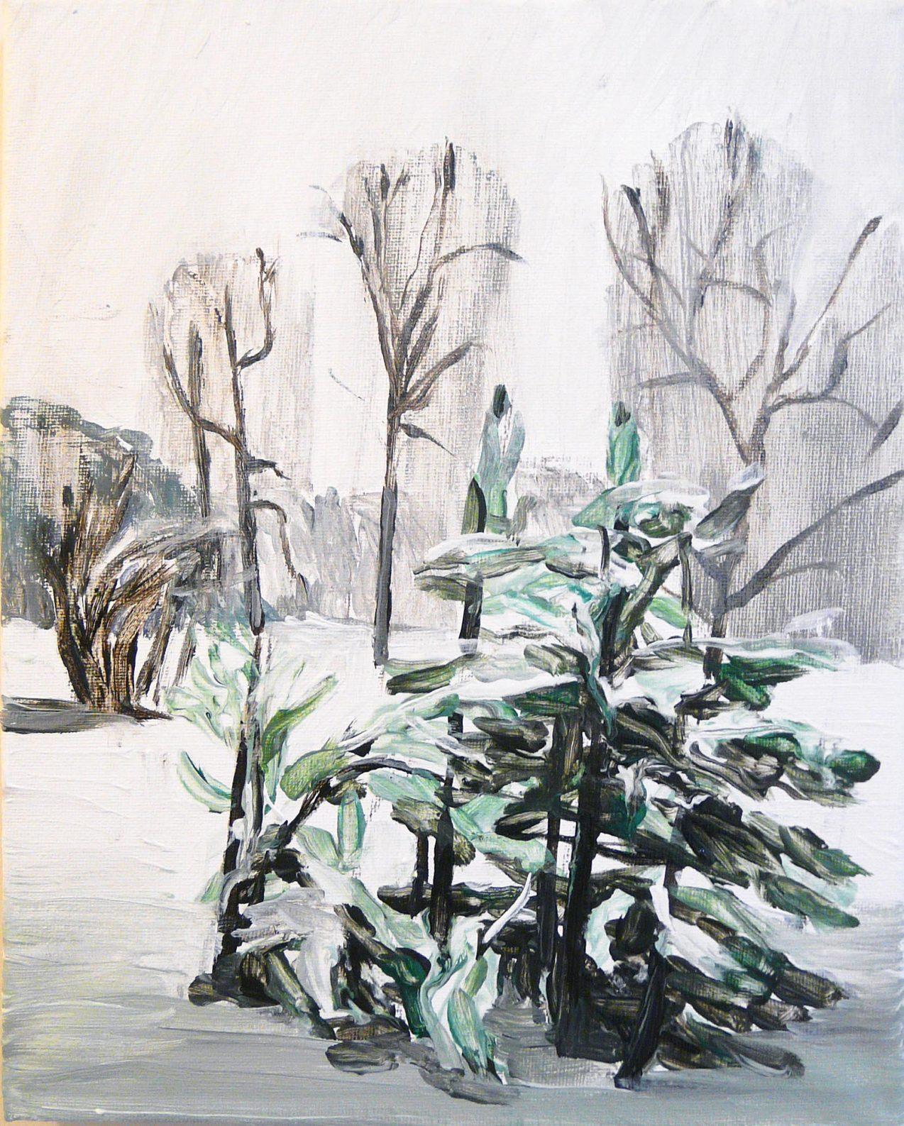 Outskirts Winter 5-5 201530cm x 24cm Acrylic canvas