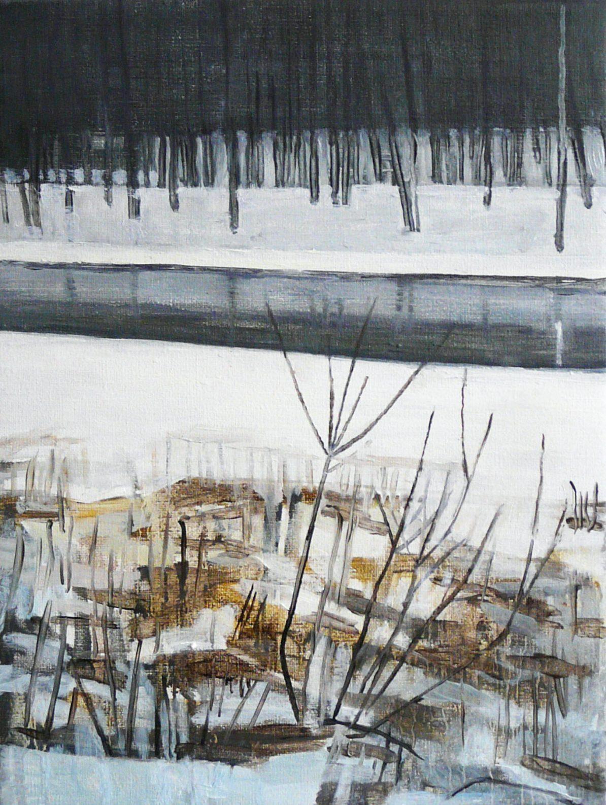 Riverside winter 2 (b), 2016. Oil, canvas. 40 x 30 cm