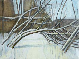 Riverside winter 4, 2016. Oil, canvas. 30 x 40 cm