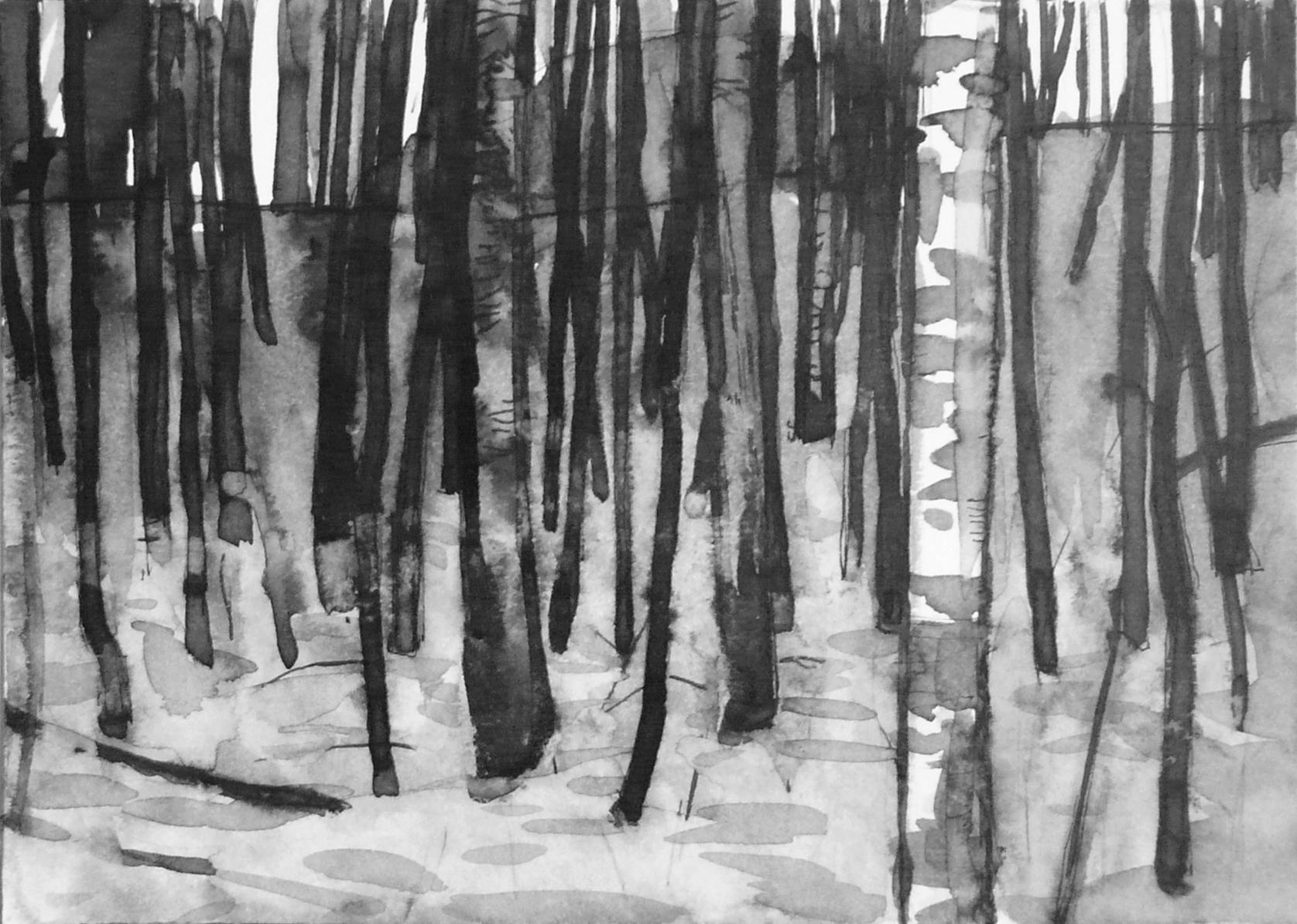 B&W – horizontal 4-6. Ink, paper. 10x15cm. 2015