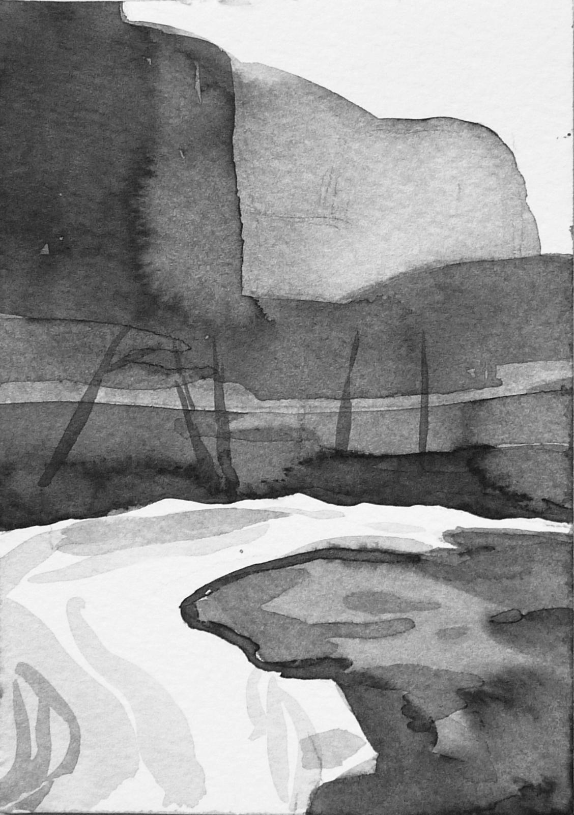 B&W vertical 14-23. Ink, paper. 15x10cm. 2015
