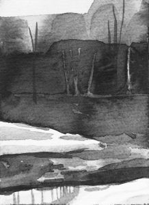 B&W vertical 15-23. Ink, paper. 15x10cm. 2015
