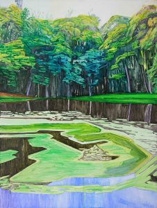 Water bloom 1. Acrylic, canvas. 80x60cm. 2018 – Copy