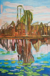 Marsh 16. Acrylic, canvas. 150x100cm. 2018