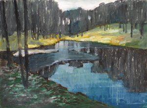 Winterscape 12-17 2012 24×32 ink oil pastel paper
