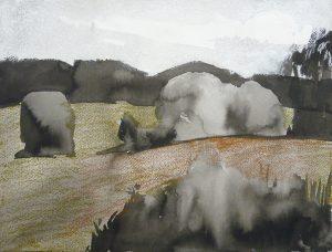 Re visiting 4-4 2013 31×41 ink oil pastel paper