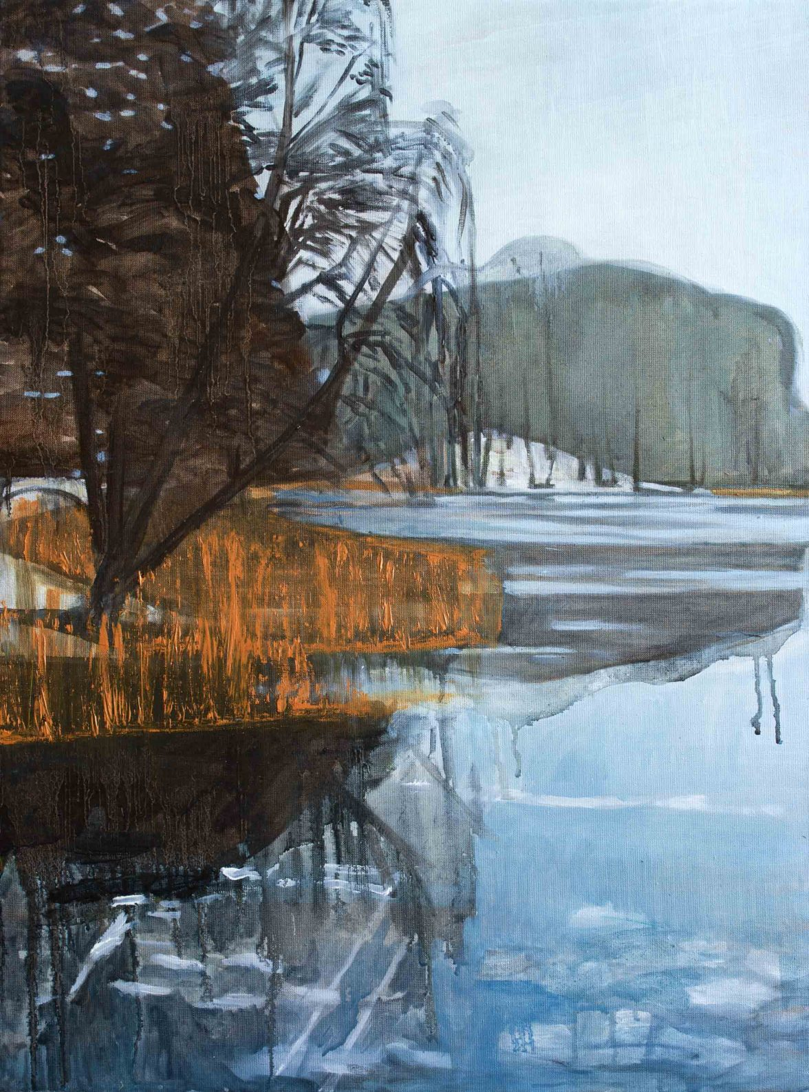 Lakeside – Winter 1, 2016. Oil, canvas. 80 x 60cm