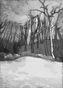 B&W vertical 12-23. Ink, paper. 15x10cm. 2014