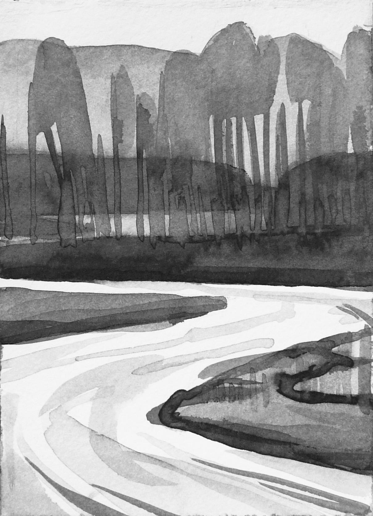 B&W vertical 13-23. Ink, paper. 15x10cm. 2015