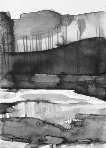 B&W vertical 16-23. Ink, paper. 15x10cm. 2015