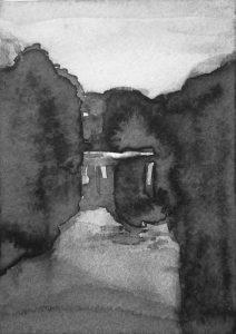 B&W vertical 17-23. Ink, paper. 15x10cm. 2015