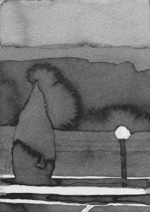 B&W vertical 18-23. Ink, paper. 15x10cm. 2015