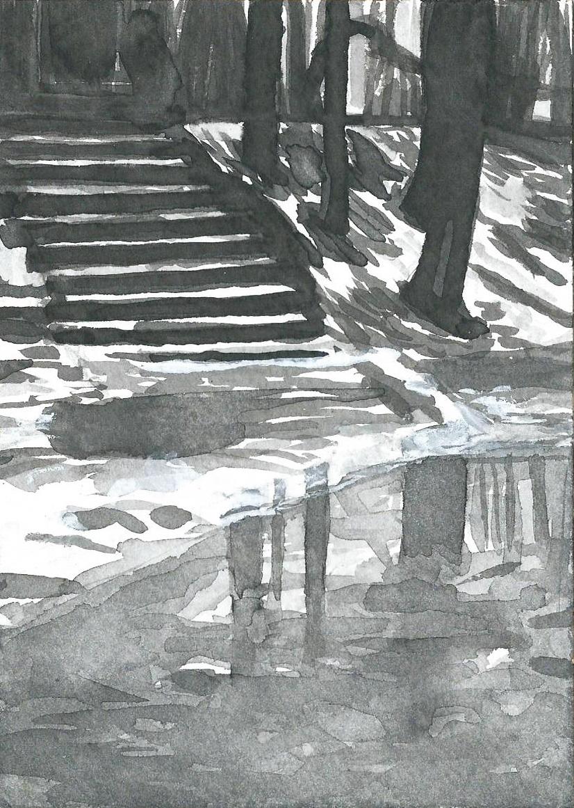 B&W – vertical 23-23. Ink, paper. 15x10cm. 2015
