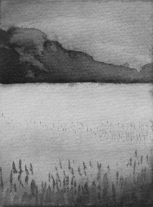 B&W vertical 3-22. Ink, paper. 15x10cm. 2014