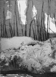 B&W vertical 5-23. Ink, paper. 15x10cm. 2014