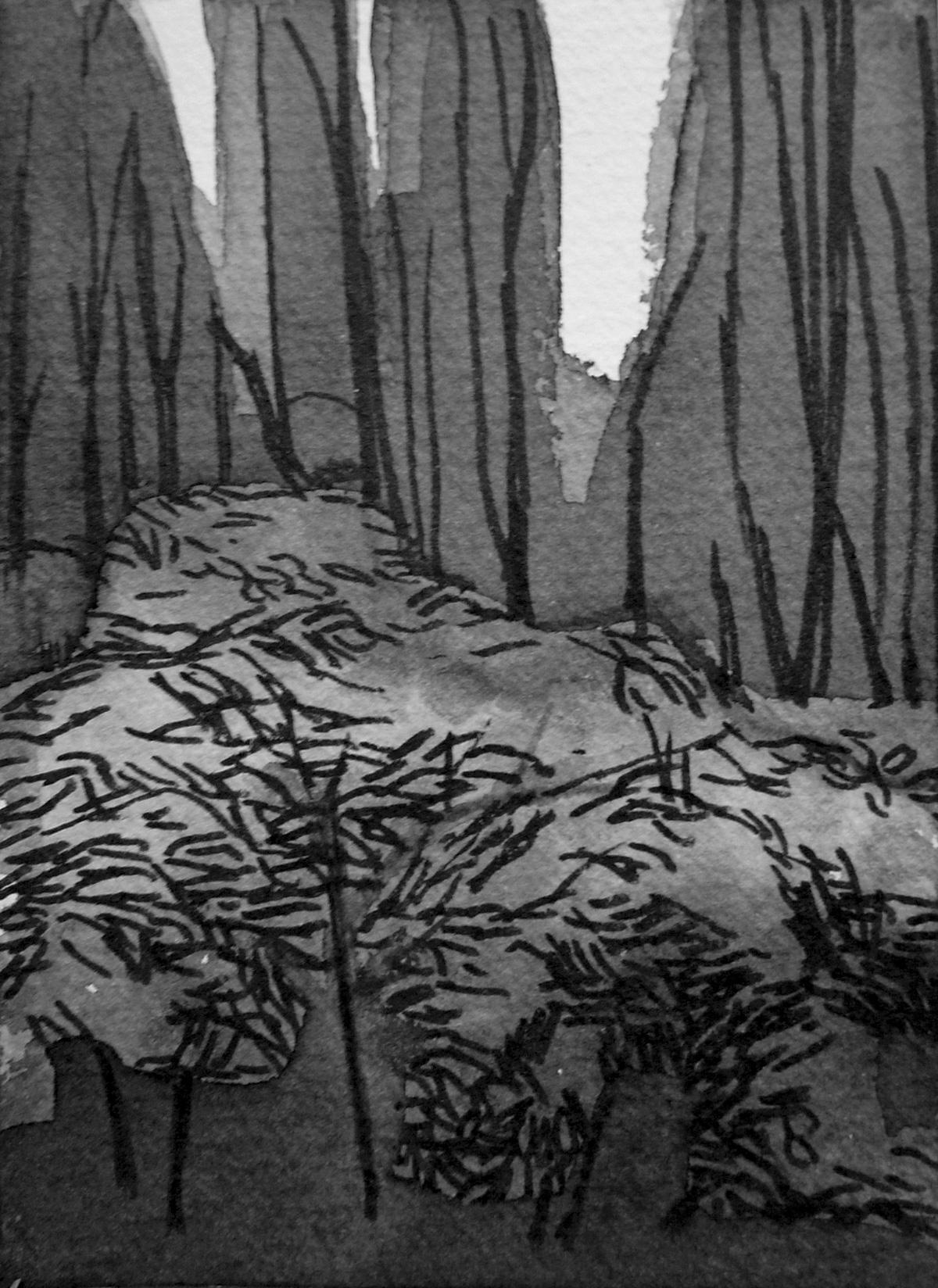 B&W vertical 6-23. Ink, paper. 15x10cm. 2014