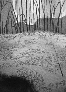 B&W vertical 7-23. Ink, paper. 15x10cm. 2014