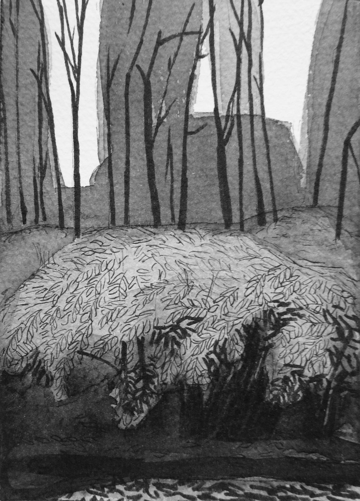 B&W vertical 8-23. Ink, paper. 15x10cm. 2014