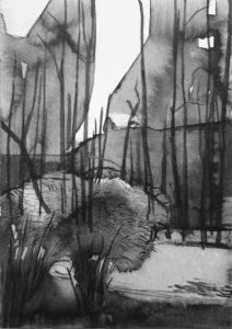 B&W vertical 9-23. Ink, paper. 15x10cm. 2014