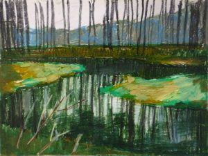 Winterscape 11-17. Ink, oil, pastel, paper. 24x32cm. 2012