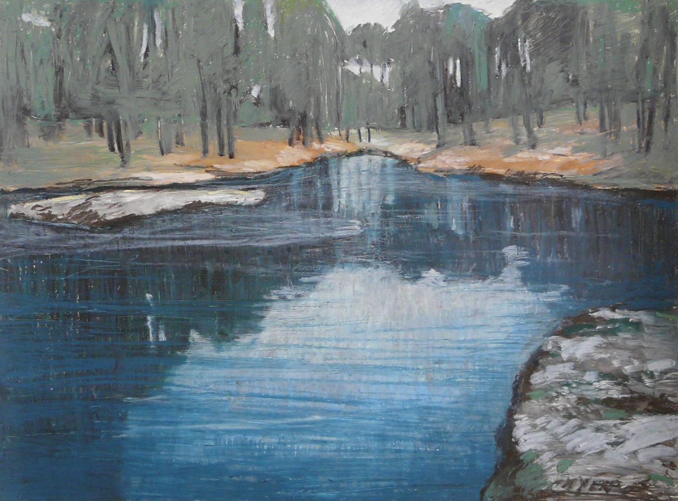 Winterscape 15-17. Ink, oil, pastel, paper. 48×64.5cm. 2012