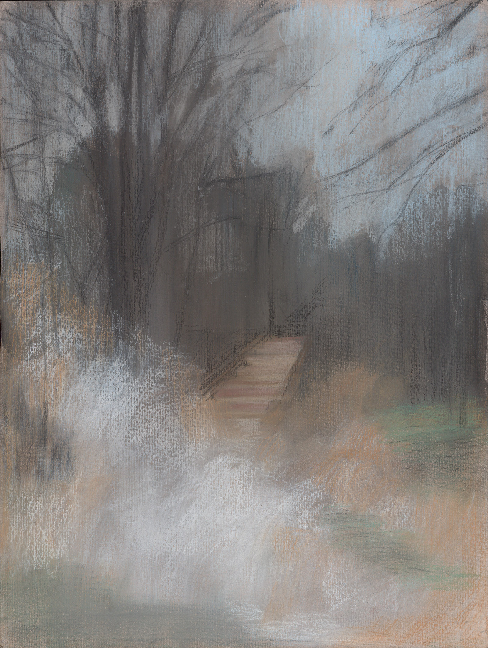 Winterscape 4-17. Ink, pastel, paper. 32x24cm. 2012
