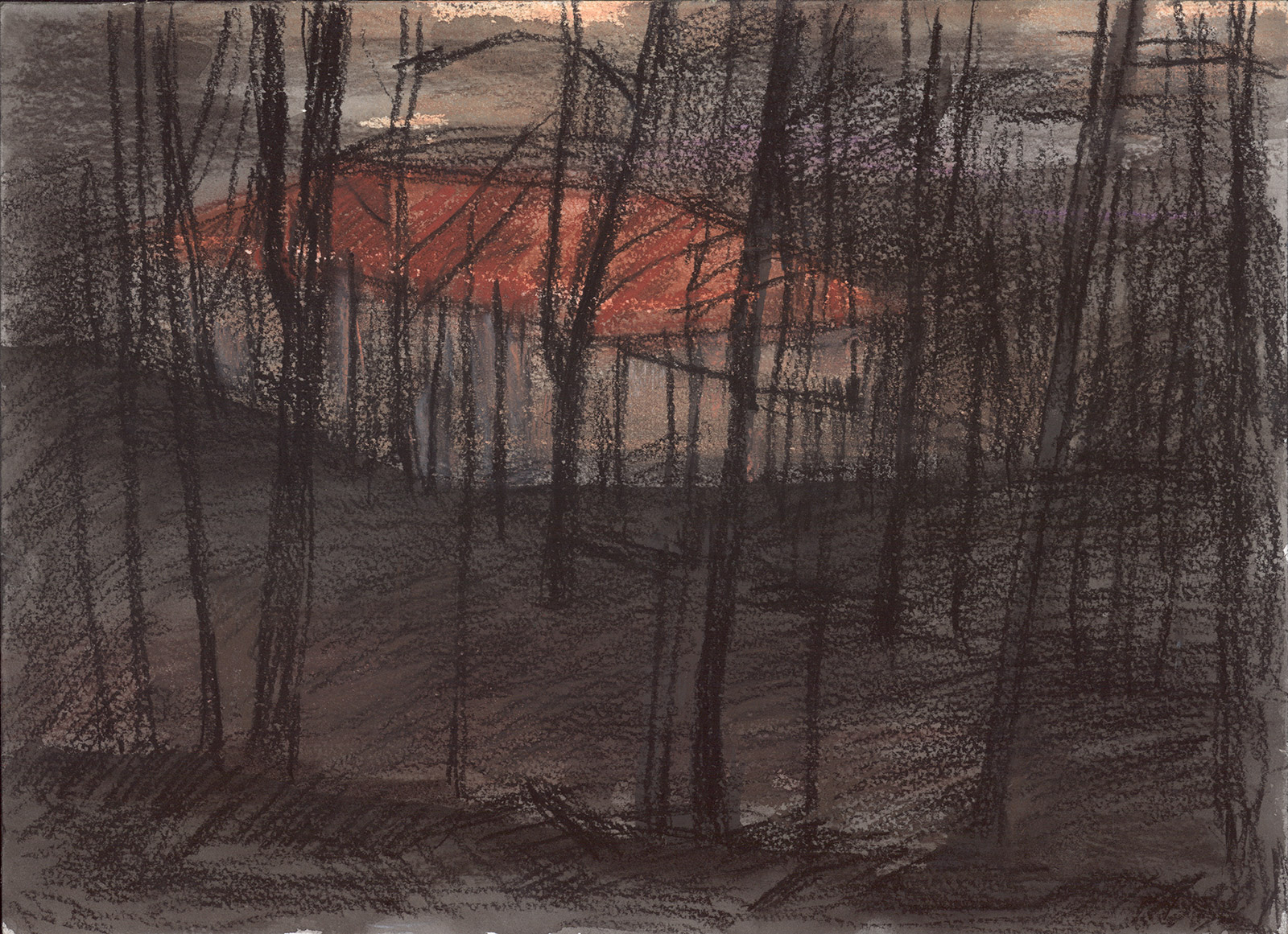 Winterscape 7-17. Ink, pastel, paper. 26x36cm. 2012