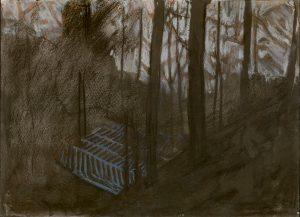 Winterscape 8-17. Ink, pastel, paper. 26x36cm. 2012