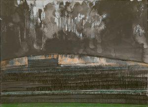 Winterscape 9-17. Ink, pastel, paper. 26x36cm. 2012
