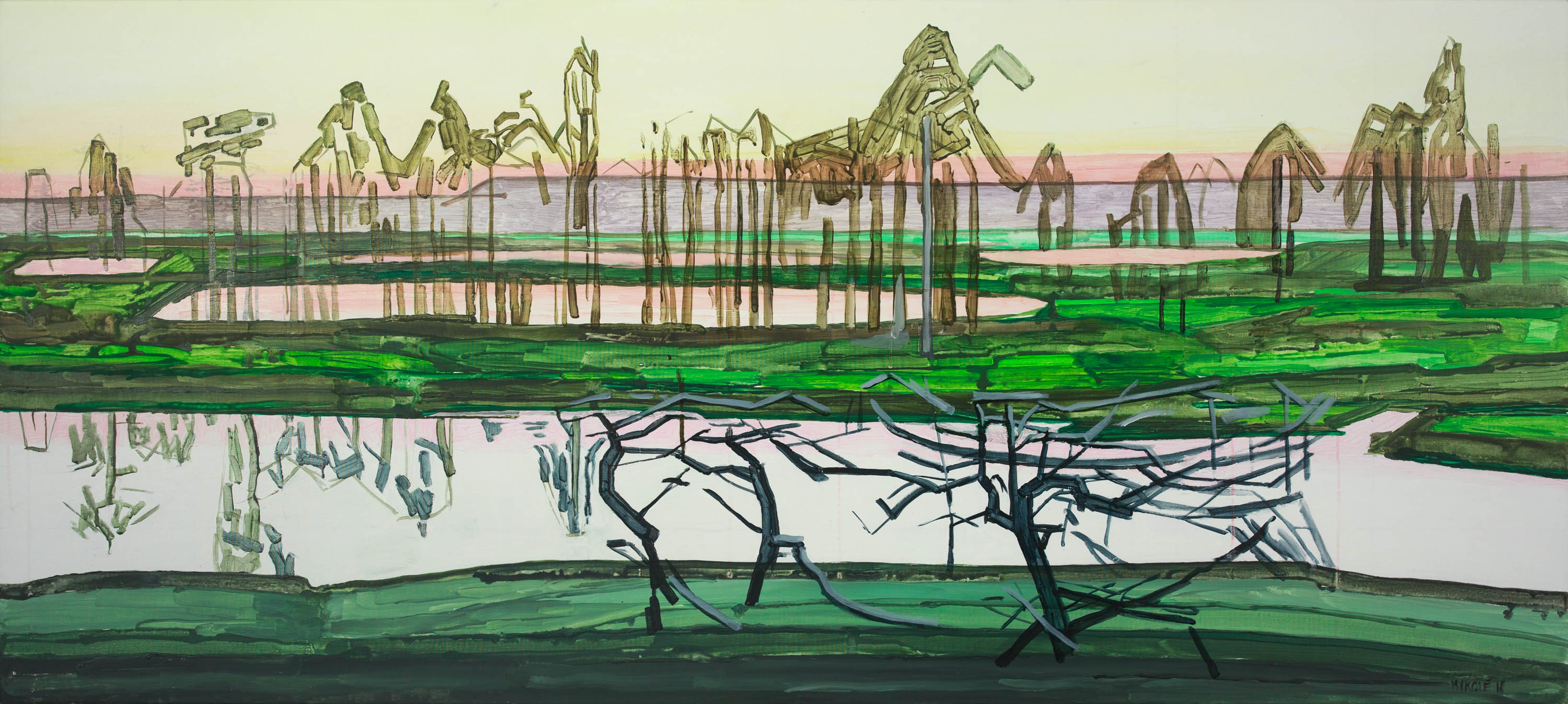Marsh 14. Acrylic, canvas. 80x180cm. 2018
